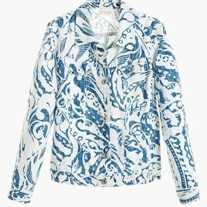 CHICO'S Summer Print Blue White Linen Jacket